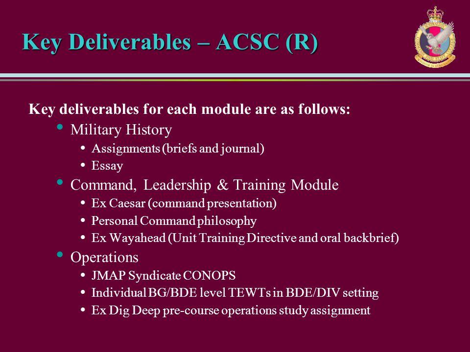 Key Deliverables – ACSC (R)