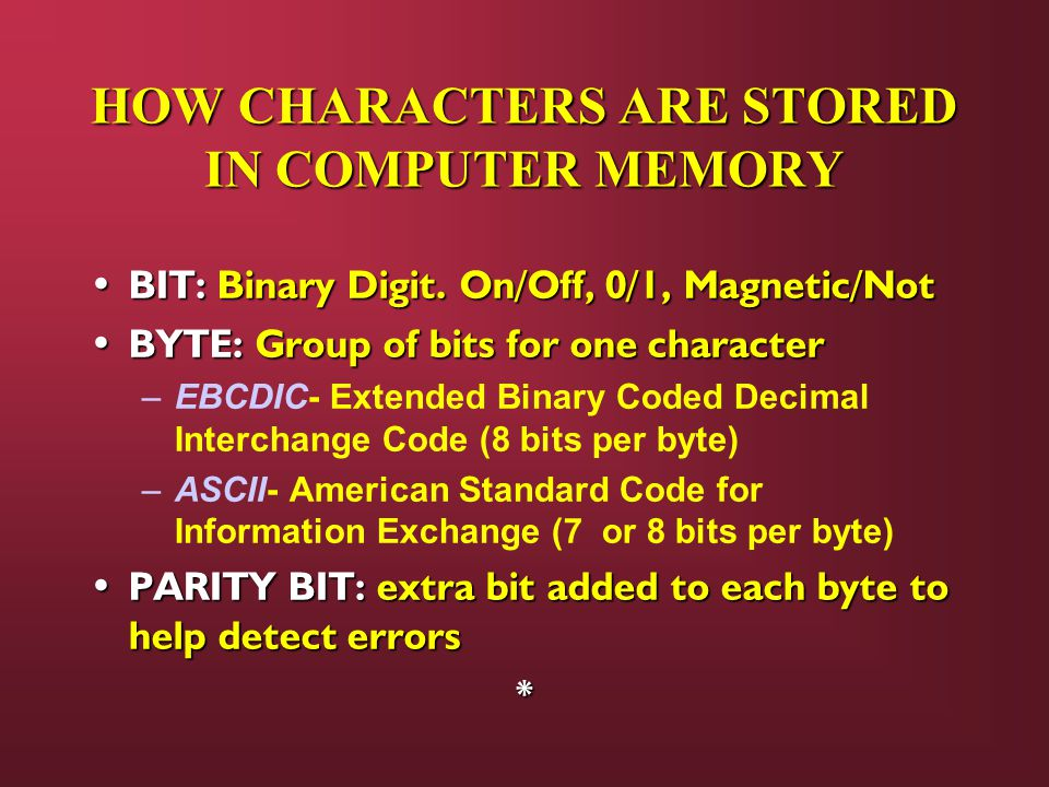 HOW CHARACTERS ARE STORED IN COMPUTER MEMORY