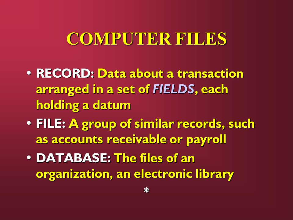 COMPUTER FILES RECORD: Data about a transaction arranged in a set of FIELDS, each holding a datum.
