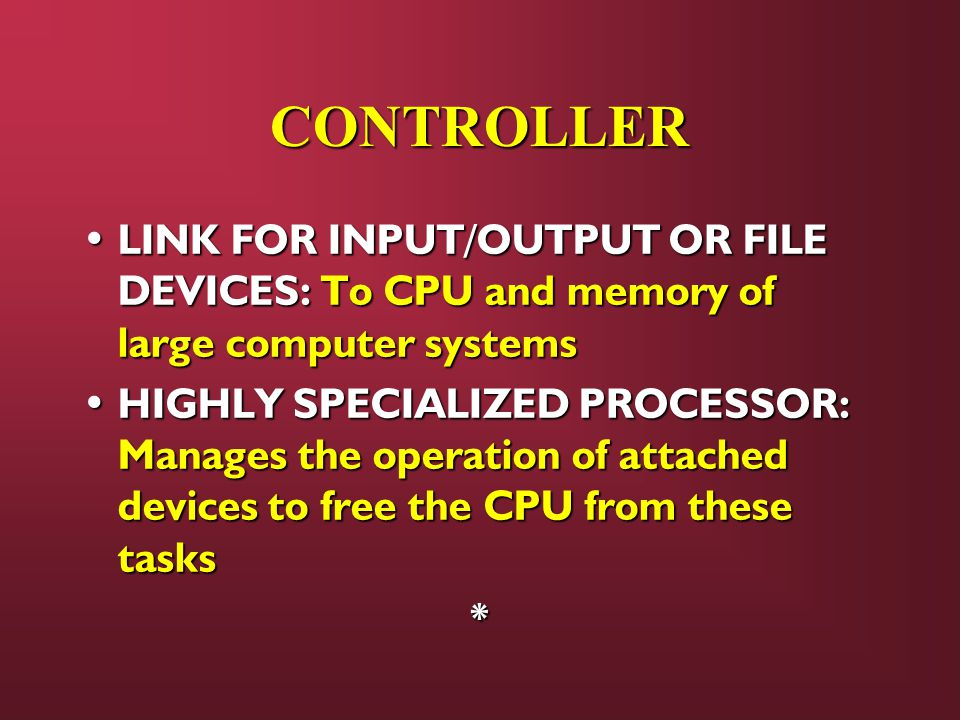 CONTROLLER LINK FOR INPUT/OUTPUT OR FILE DEVICES: To CPU and memory of large computer systems.