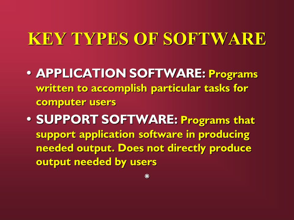 KEY TYPES OF SOFTWARE APPLICATION SOFTWARE: Programs written to accomplish particular tasks for computer users.