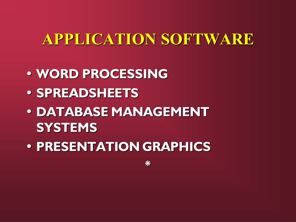APPLICATION SOFTWARE WORD PROCESSING SPREADSHEETS