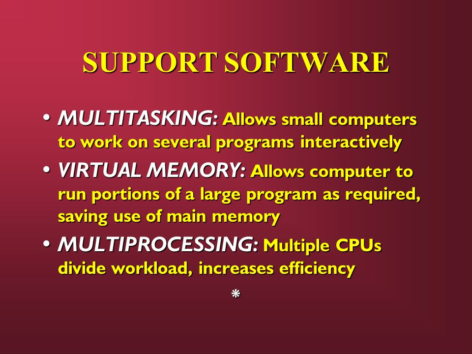 SUPPORT SOFTWARE MULTITASKING: Allows small computers to work on several programs interactively.