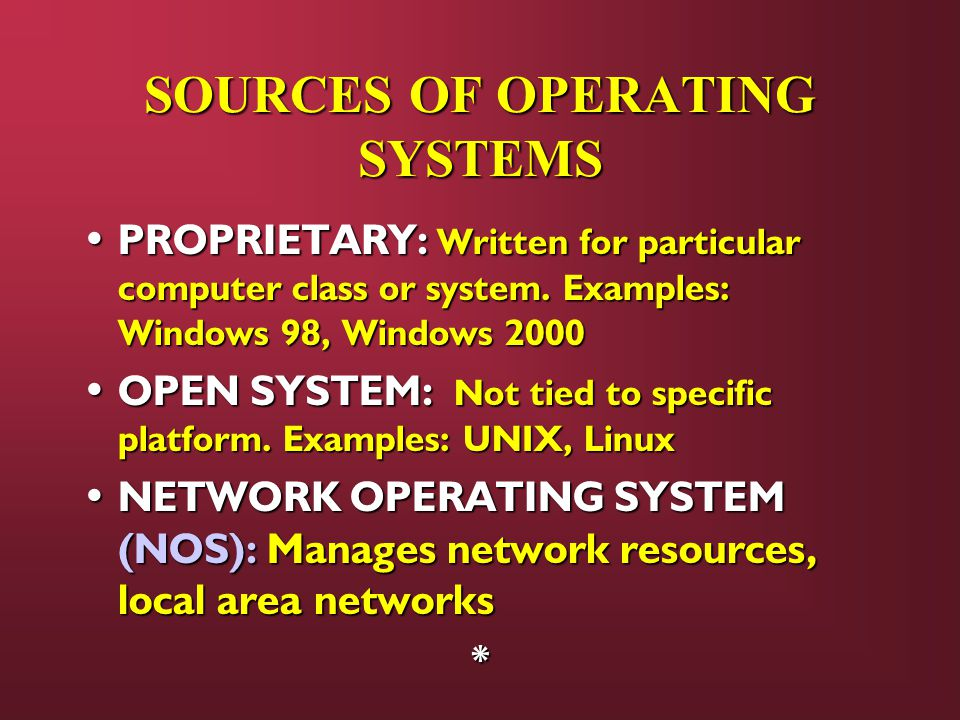 SOURCES OF OPERATING SYSTEMS