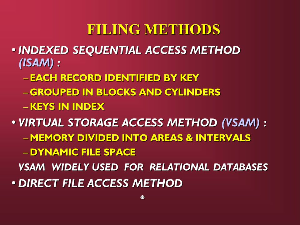 FILING METHODS INDEXED SEQUENTIAL ACCESS METHOD (ISAM) :