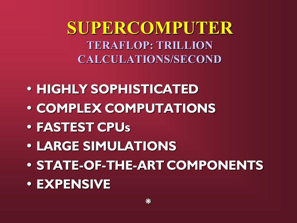 SUPERCOMPUTER TERAFLOP: TRILLION CALCULATIONS/SECOND