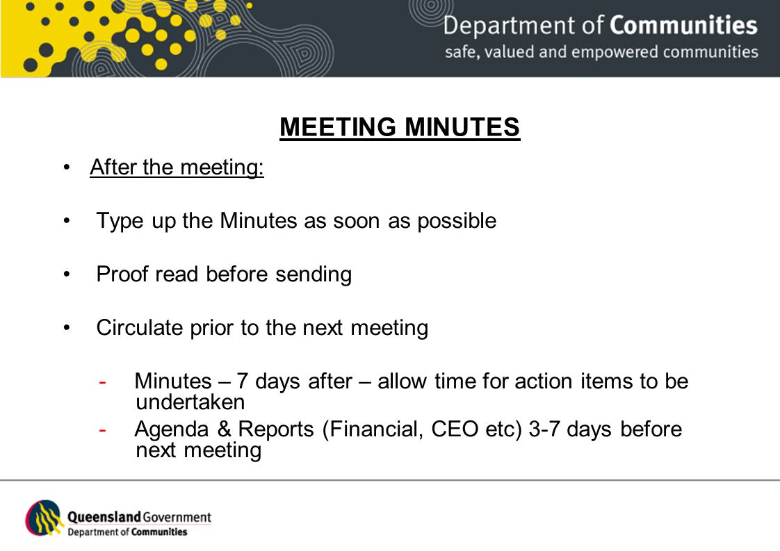 MEETING MINUTES After the meeting: