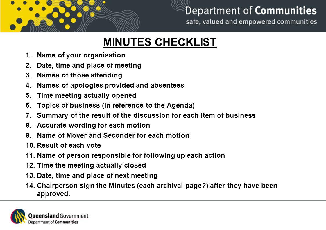 MINUTES CHECKLIST Name of your organisation