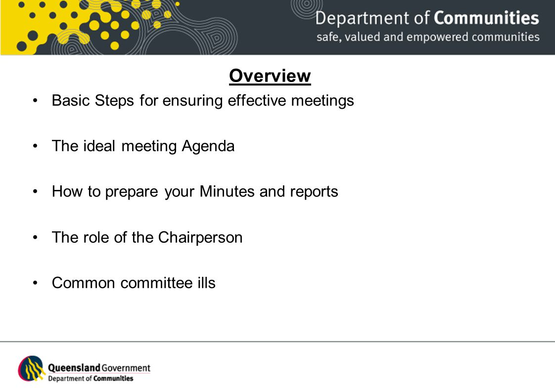 Overview Basic Steps for ensuring effective meetings