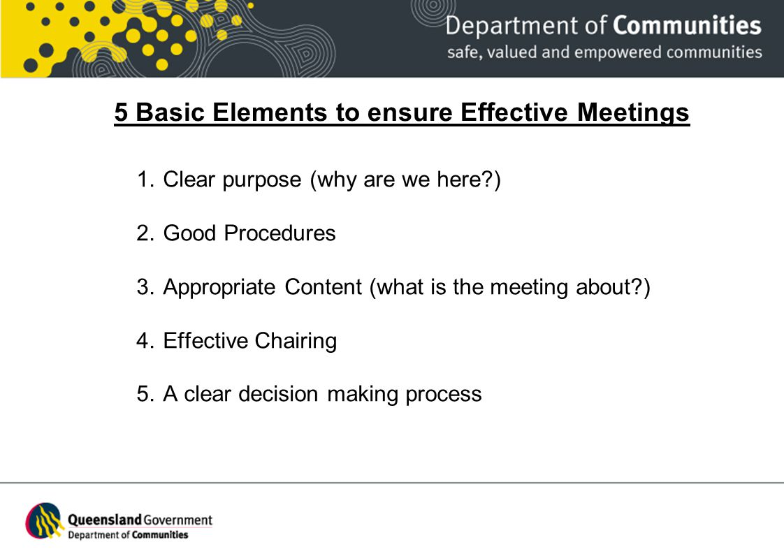 5 Basic Elements to ensure Effective Meetings