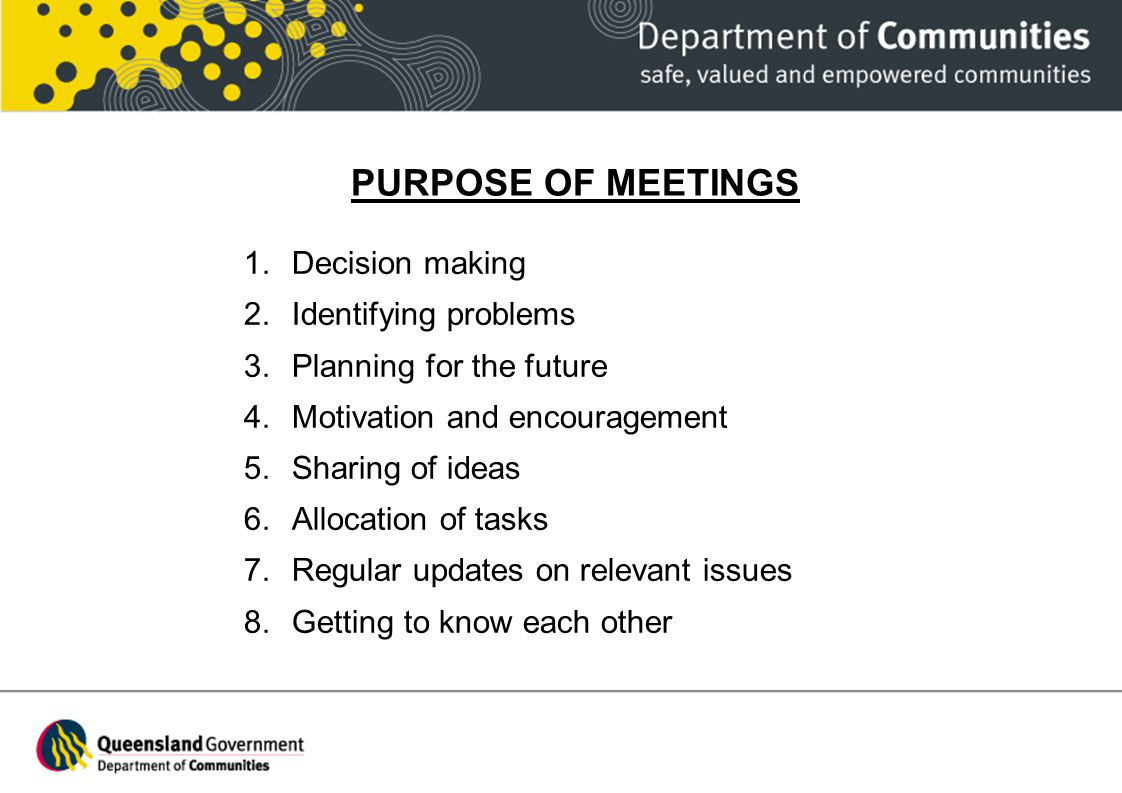 PURPOSE OF MEETINGS Decision making Identifying problems