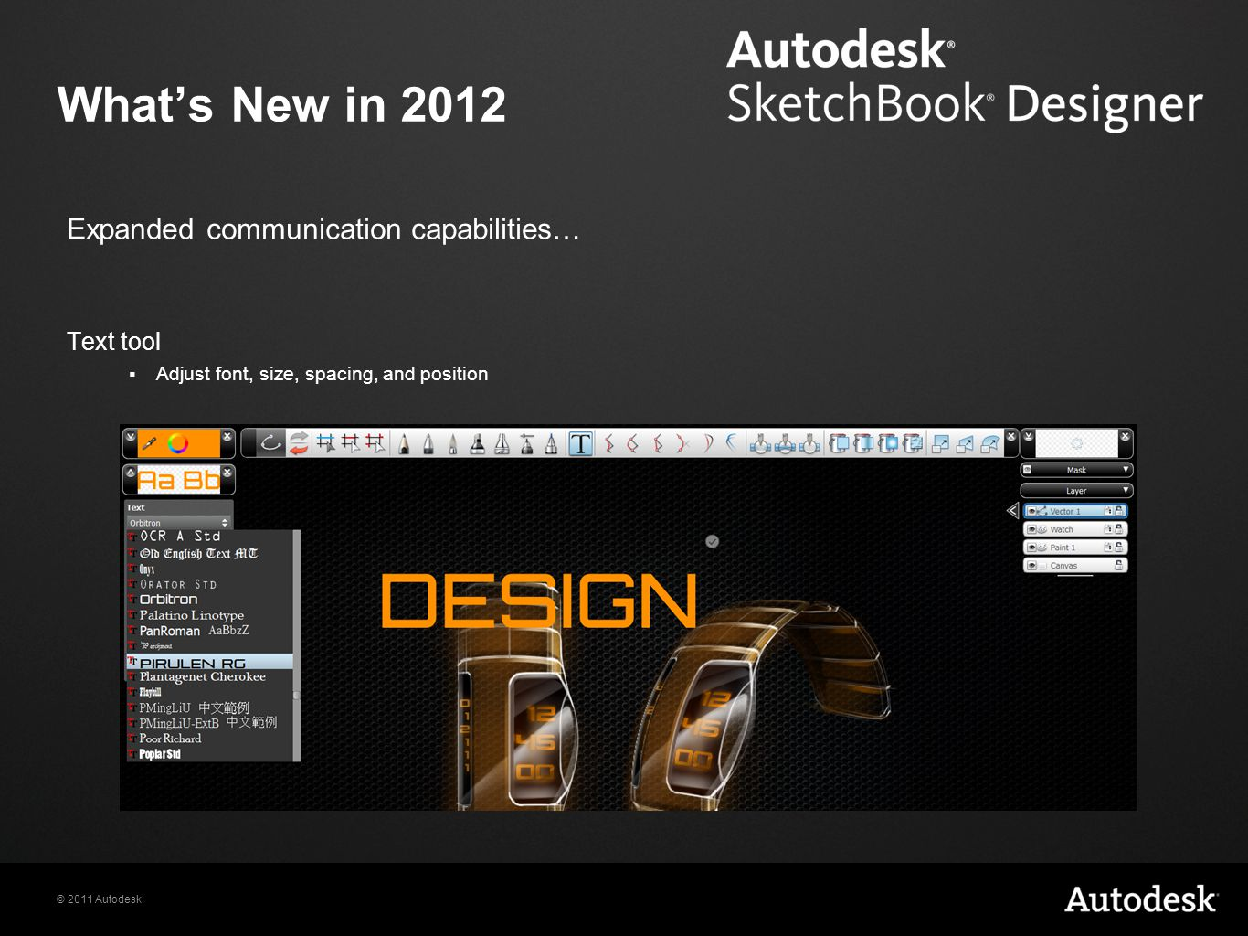 What's New in 2012 Expanded communication capabilities… Text tool