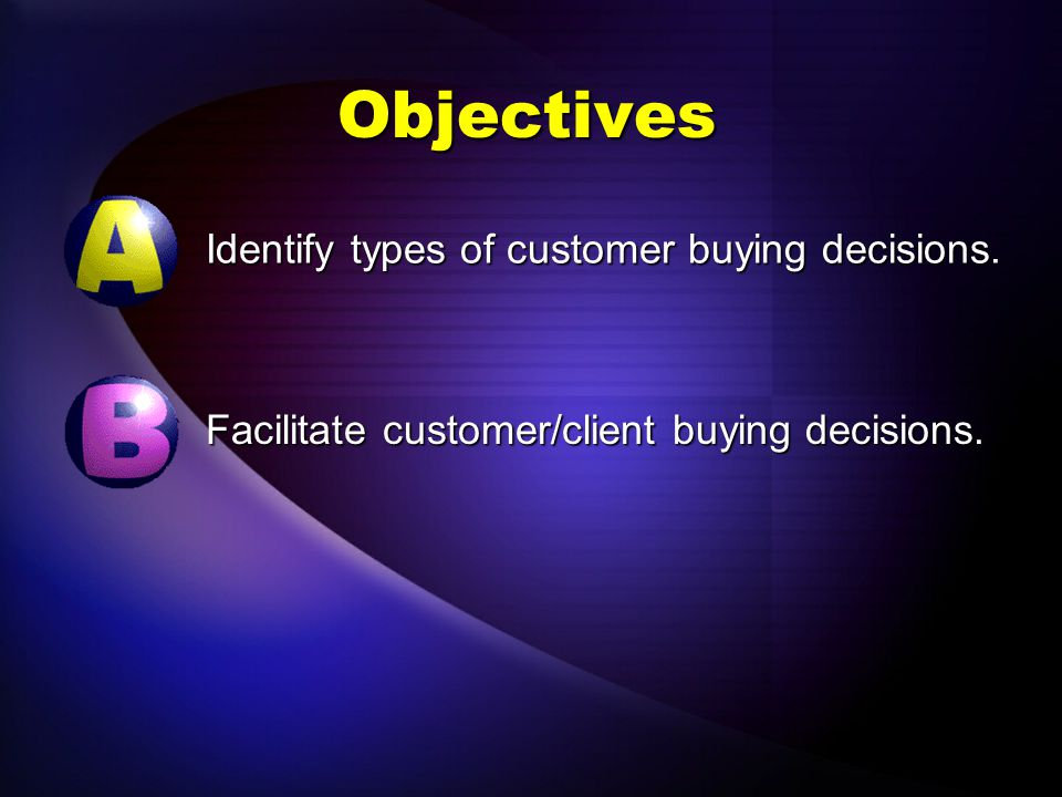 Objectives Identify types of customer buying decisions.