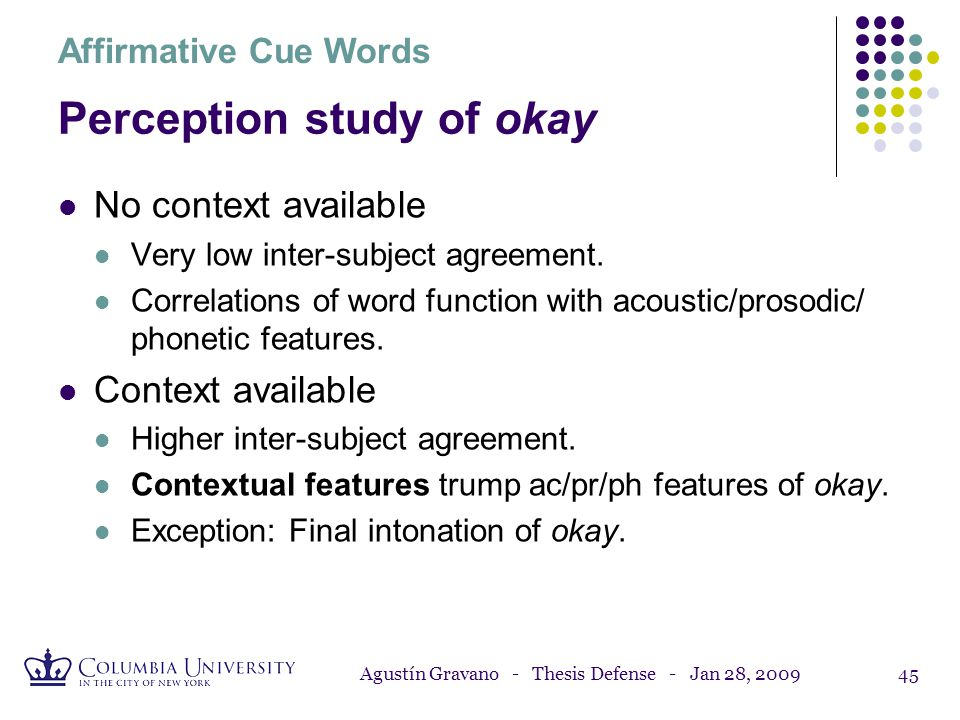 Perception study of okay