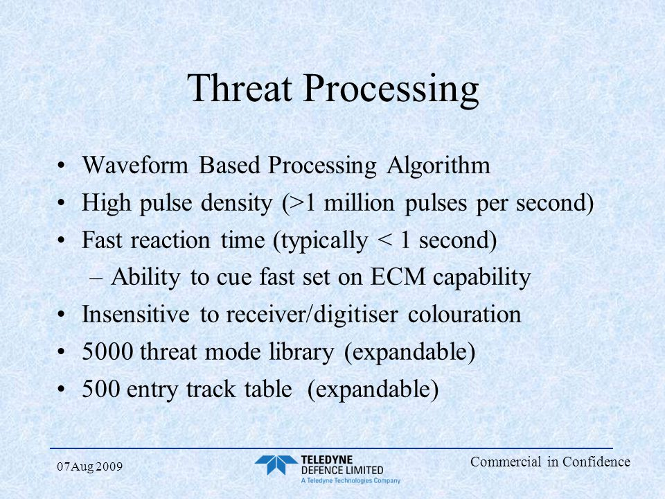 Threat Processing Waveform Based Processing Algorithm