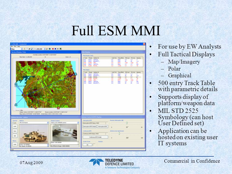 Full ESM MMI For use by EW Analysts Full Tactical Displays
