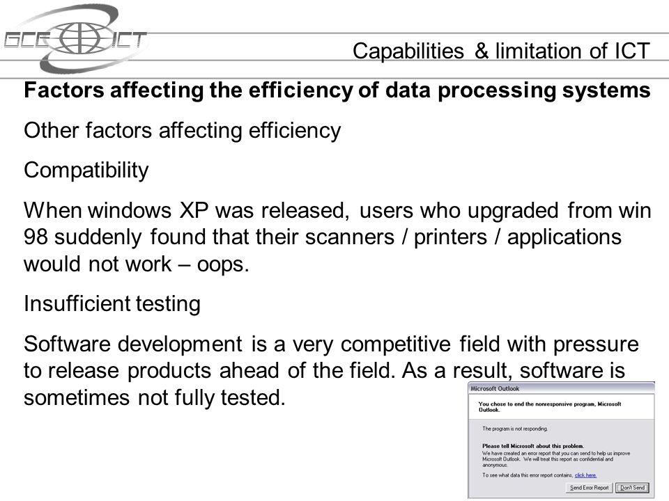 Capabilities & limitation of ICT