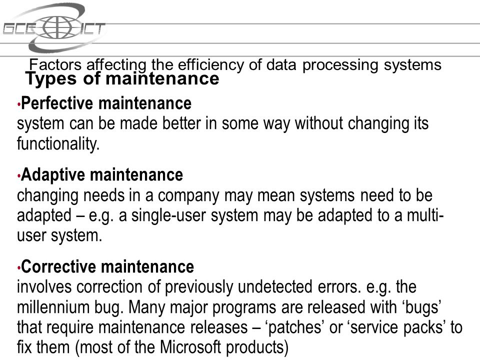 Factors affecting the efficiency of data processing systems