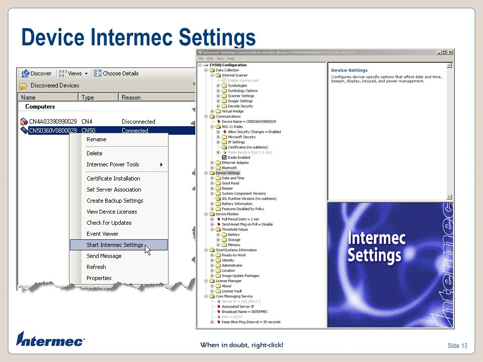 Device Intermec Settings