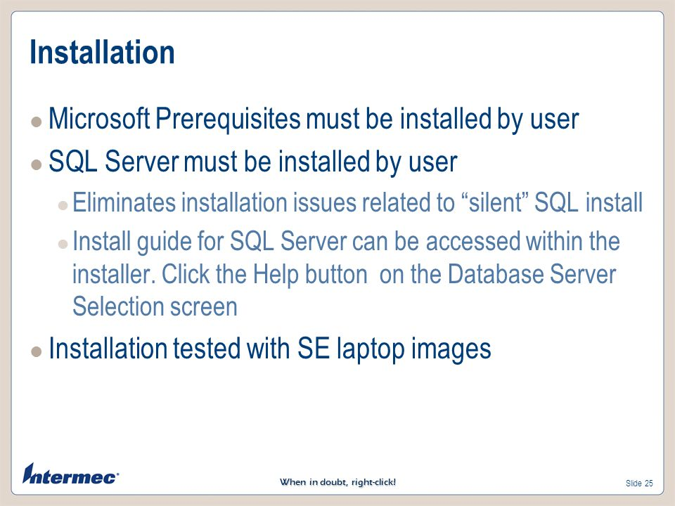 Installation Microsoft Prerequisites must be installed by user