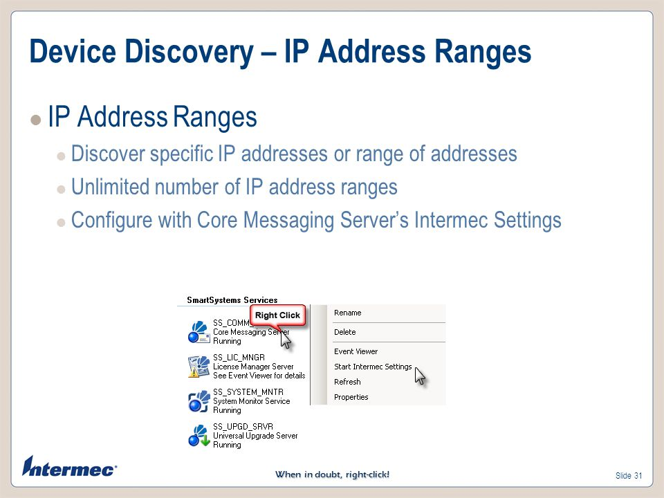 Device Discovery – IP Address Ranges