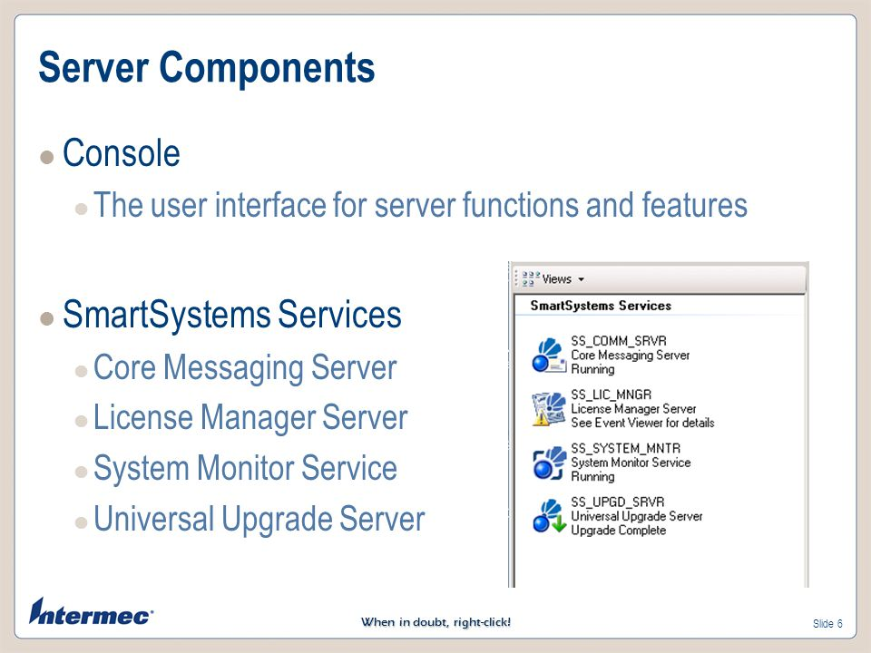 Server Components Console SmartSystems Services