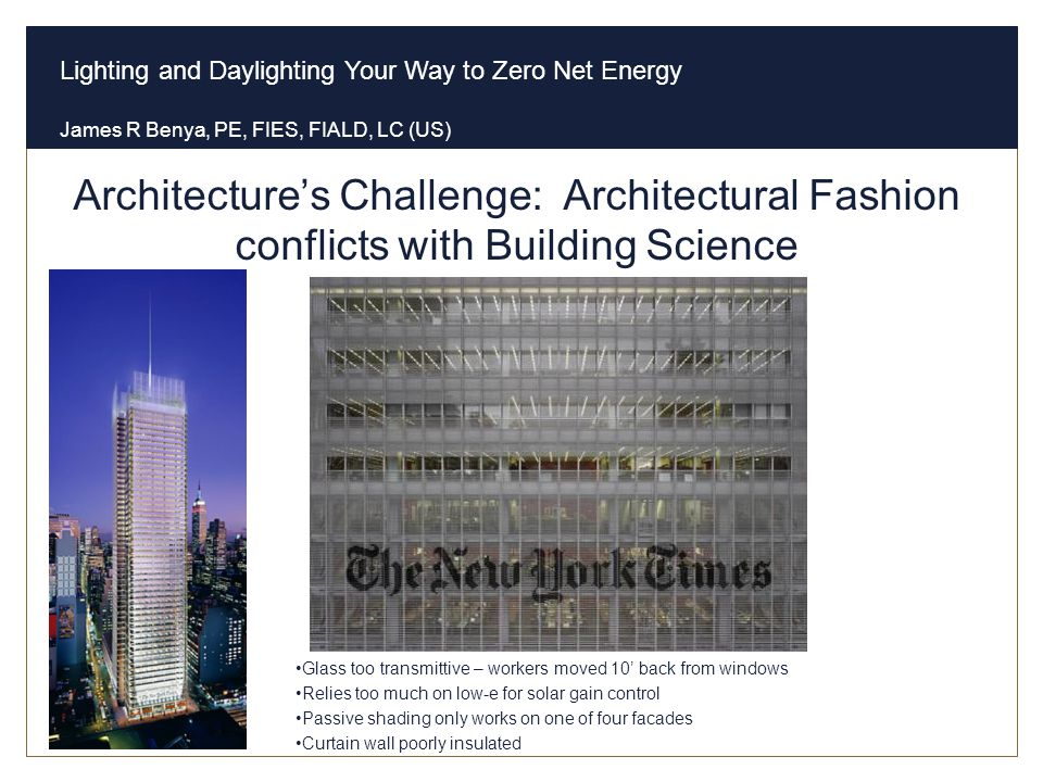 Architecture's Challenge: Architectural Fashion conflicts with Building Science