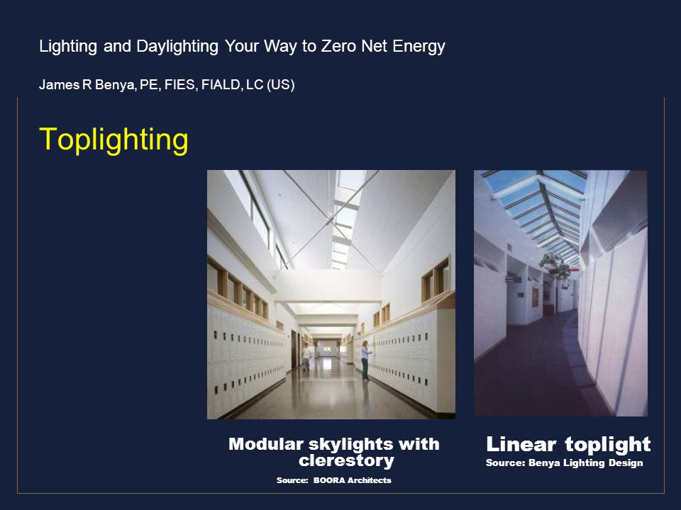 Toplighting Linear toplight Modular skylights with clerestory