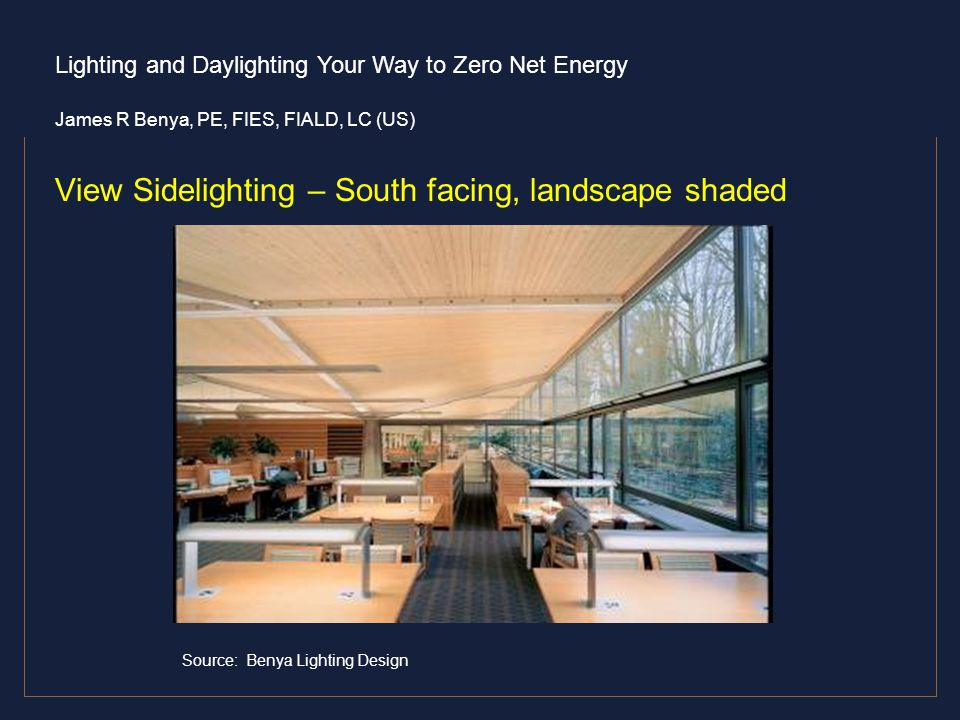 View Sidelighting – South facing, landscape shaded