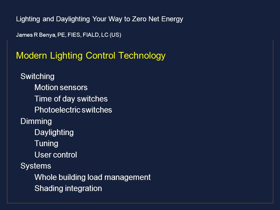 Modern Lighting Control Technology