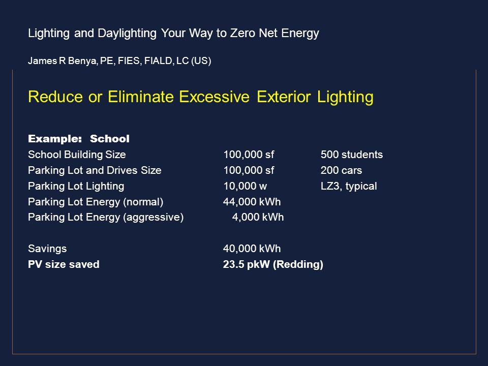 Reduce or Eliminate Excessive Exterior Lighting