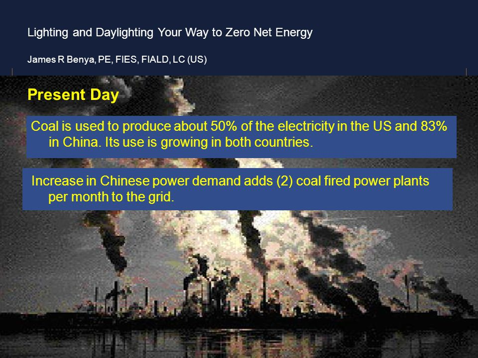 Present Day Coal is used to produce about 50% of the electricity in the US and 83% in China. Its use is growing in both countries.