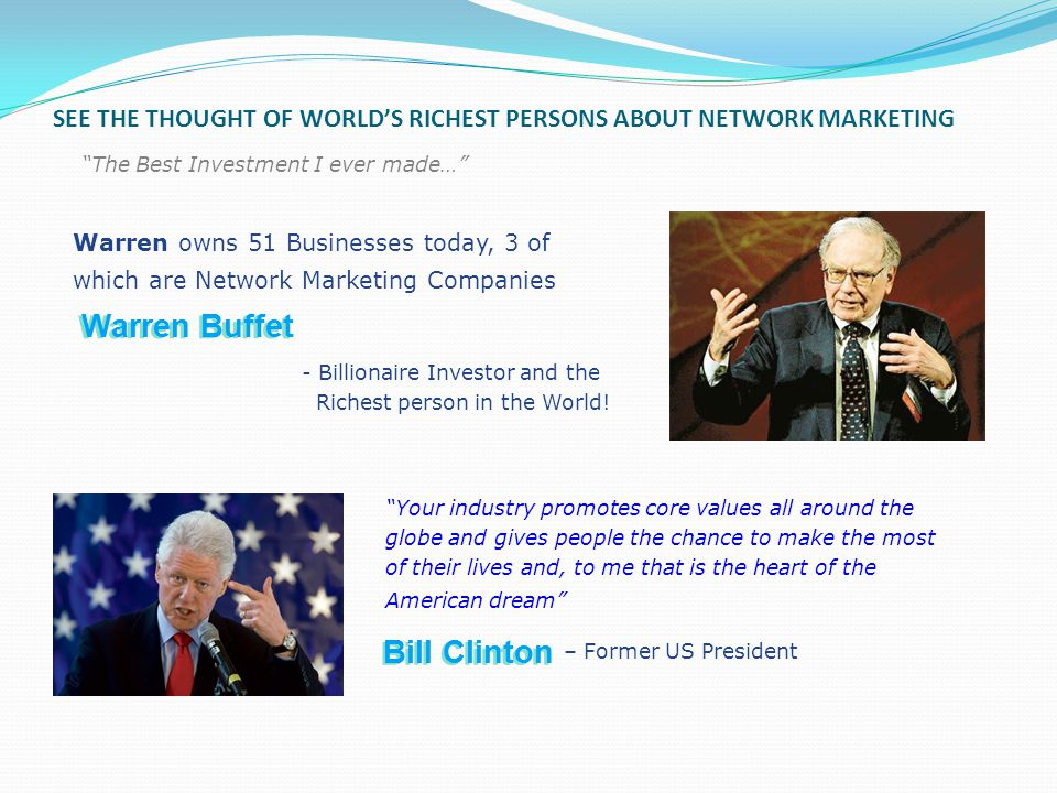SEE THE THOUGHT OF WORLD'S RICHEST PERSONS ABOUT NETWORK MARKETING