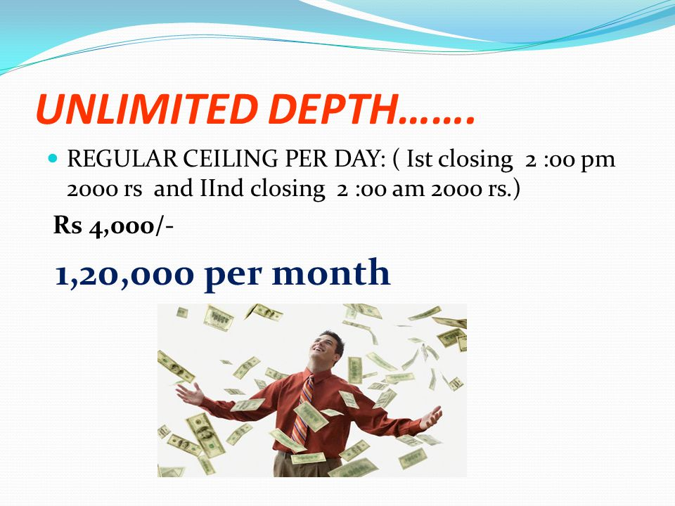 UNLIMITED DEPTH……. 1,20,000 per month Rs 4,000/-