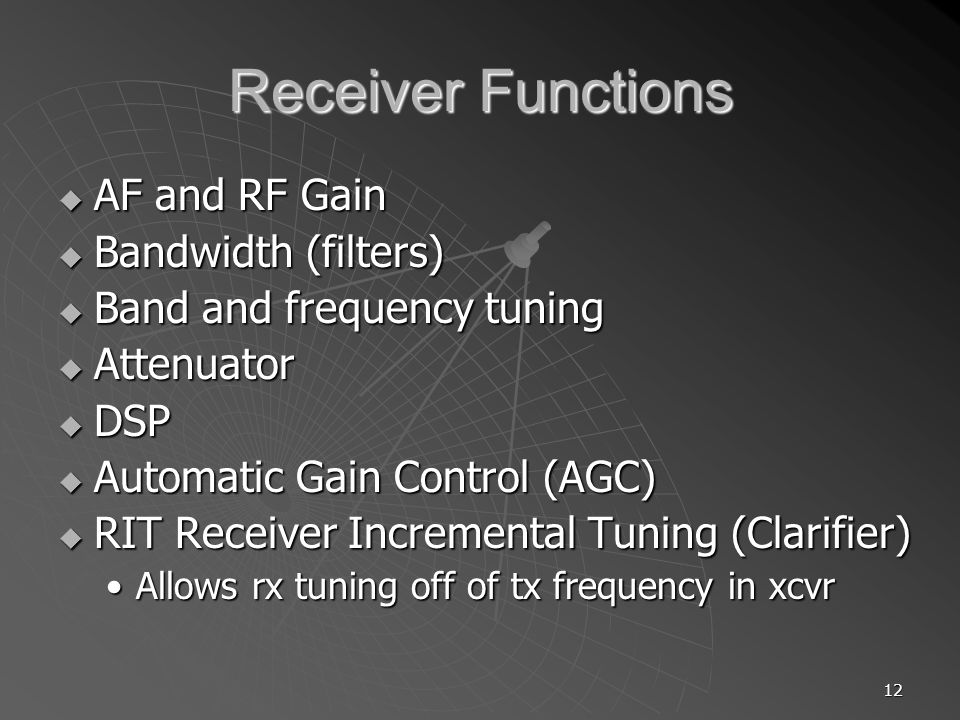 Receiver Functions AF and RF Gain Bandwidth (filters)