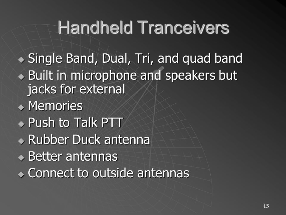 Handheld Tranceivers Single Band, Dual, Tri, and quad band
