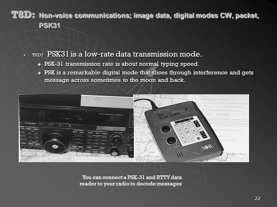 T8D:. Non-voice communications; image data, digital modes CW, packet,