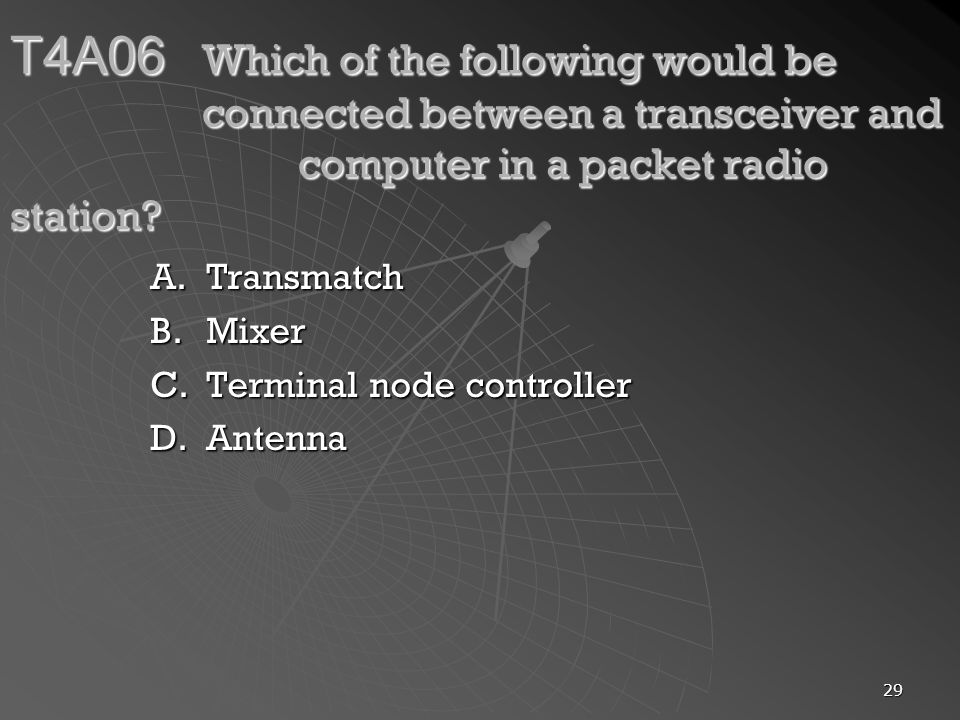 T4A06. Which of the following would be