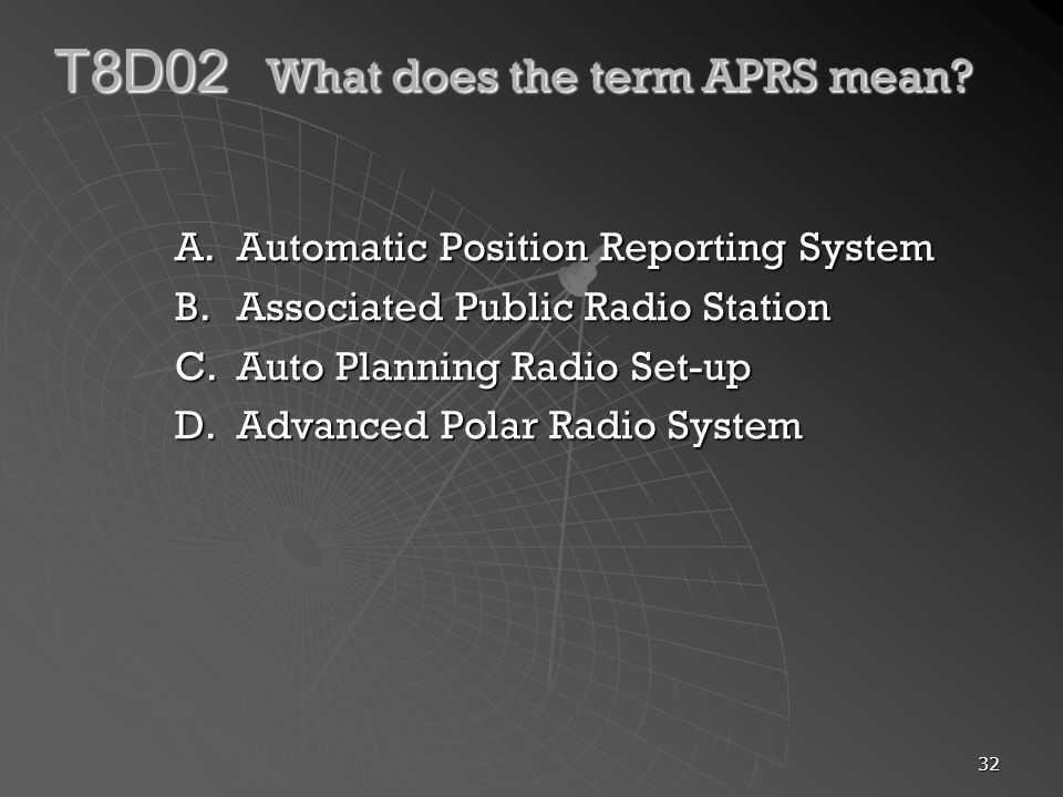 T8D02 What does the term APRS mean