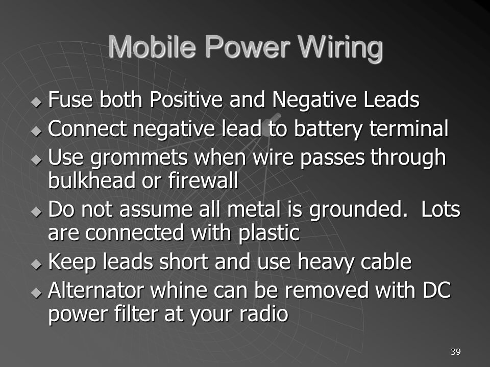 Mobile Power Wiring Fuse both Positive and Negative Leads