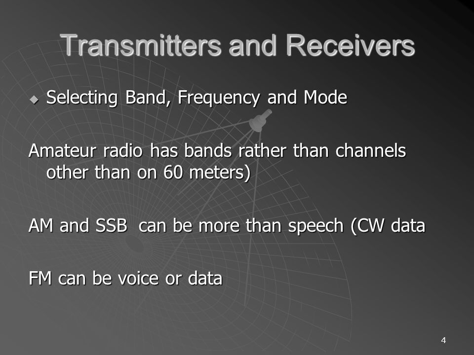 Transmitters and Receivers