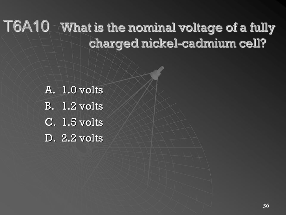 T6A10. What is the nominal voltage of a fully