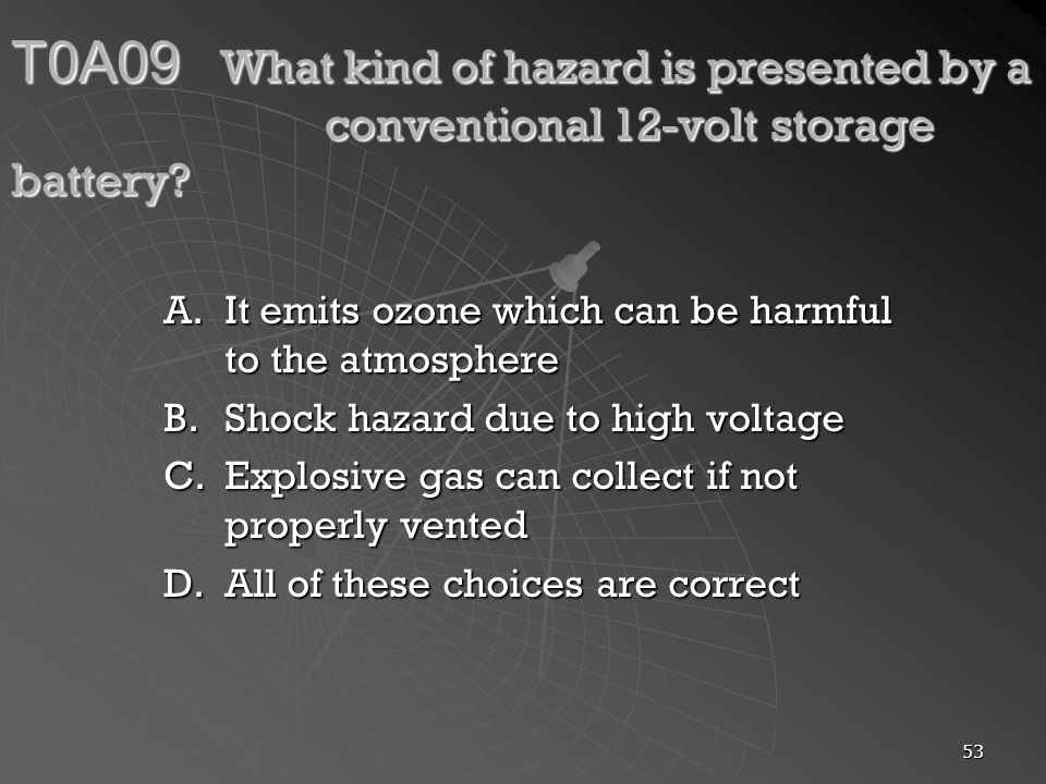 T0A09. What kind of hazard is presented by a