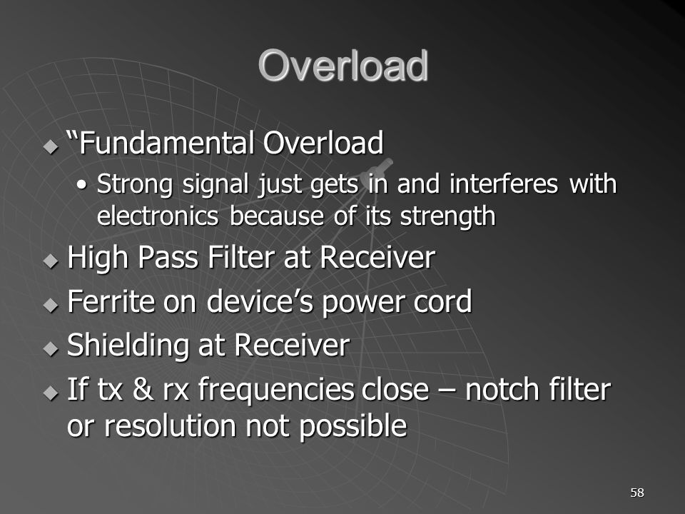 Overload Fundamental Overload High Pass Filter at Receiver