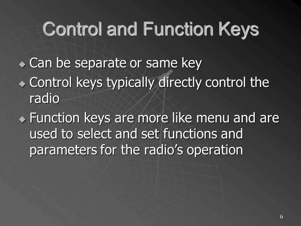 Control and Function Keys