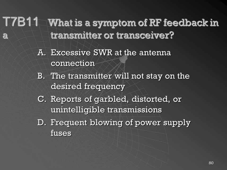 T7B11. What is a symptom of RF feedback in a