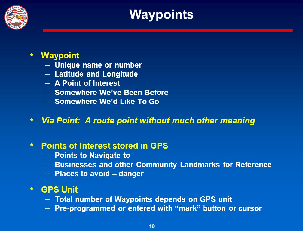 Waypoints Waypoint Via Point: A route point without much other meaning