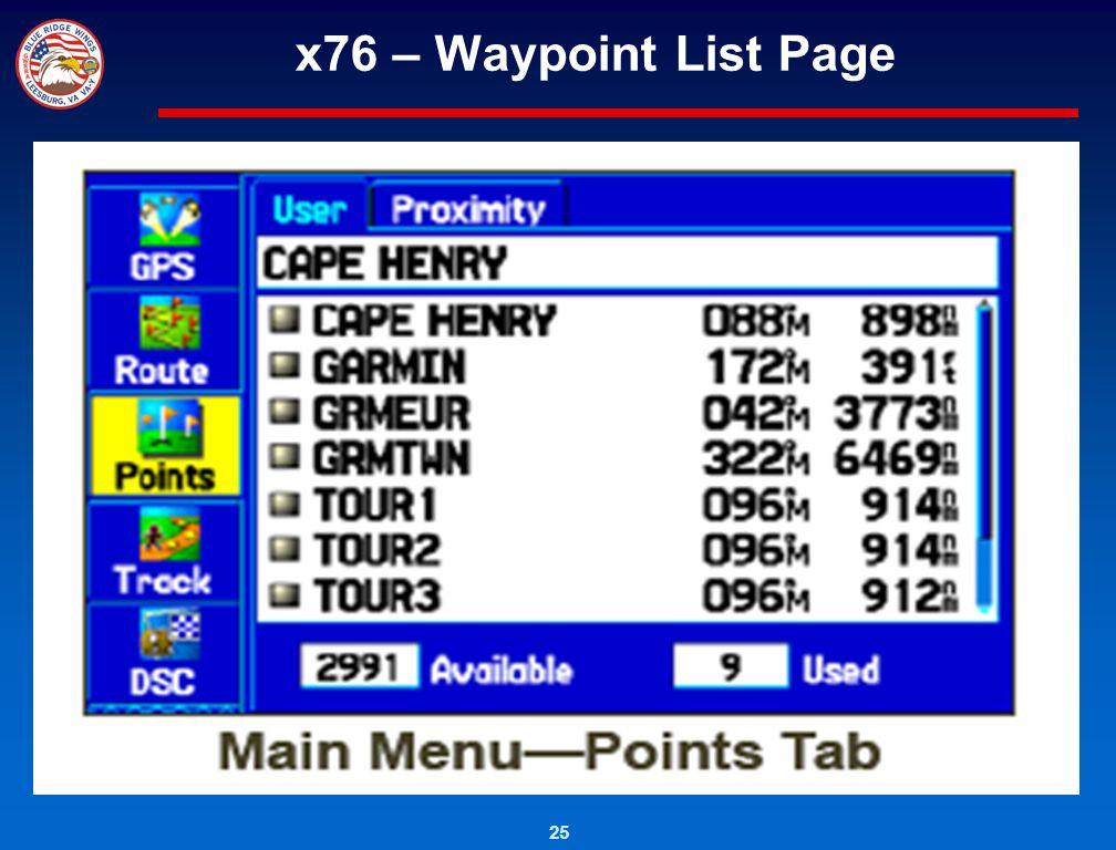 x76 – Waypoint List Page