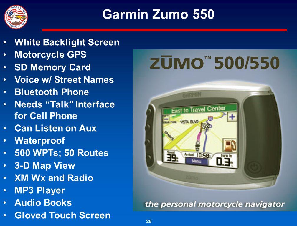 Garmin Zumo 550 White Backlight Screen Motorcycle GPS SD Memory Card