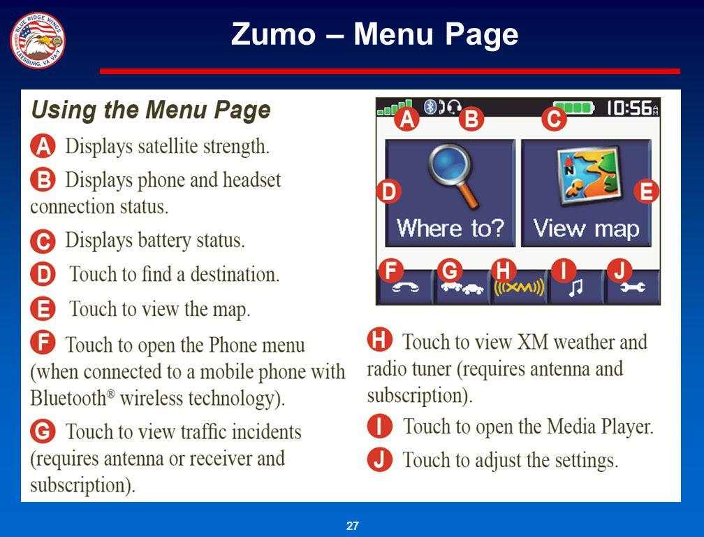 Zumo – Menu Page